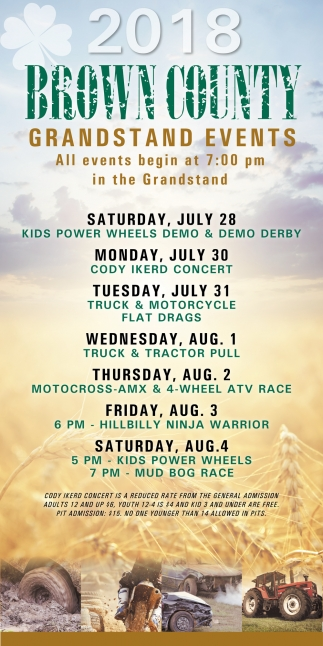 2018 Brown County Grandstand Events