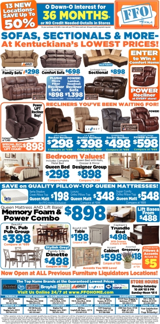 Sofas, Sectionals & More At Kentuckiana's Lowest Prices!