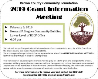 2019 Grant Information Meeting