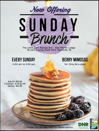 Now Offering Sunday Brunch