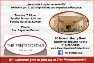 We Welcome You To Join Us At The Pentecostals