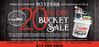 Help Us Celebrate 20 Years In Business With A 20% Off Bucket Sale