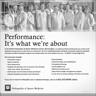 Performance: It's What We're About