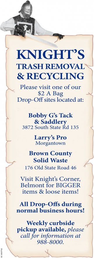 Please Visit One Of Our $2 A Bag Drop-Off Sites