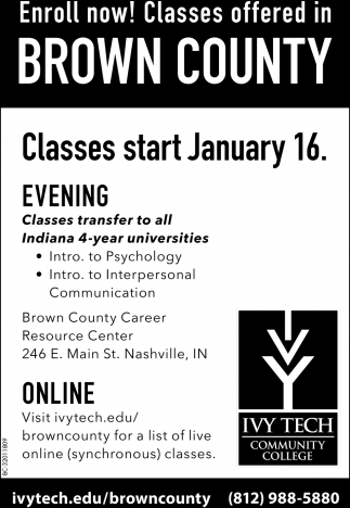 Enroll Now! Classes Offered In Brown County