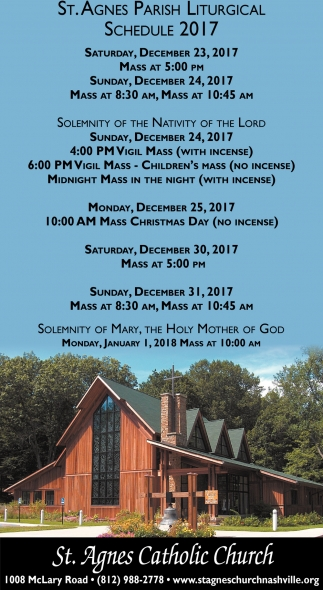 St. Agnes Parish Liturgical Schedule 2017