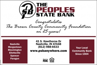 Congratulates The Brown County Community Foundation On 25 Years!